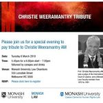 Tribute talk for Prof Weeramantry at Monash Law by Tony Anghie